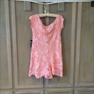 Express M (Size 6) Knit Overlay Peach Color Romper